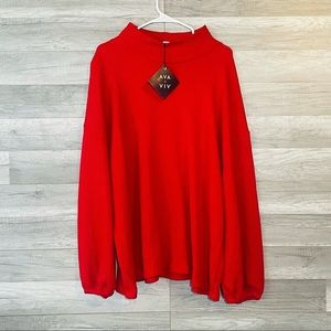 Ava Viv Sweater Cowl Neck Red Plus Size Pullover